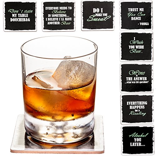 Set of 8 Premium Funny Coasters for Drinks- Large Size 4