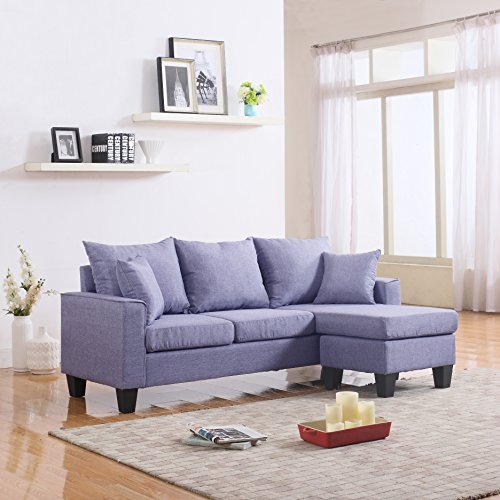 Italian Sofa Brent Cross: Modern Linen Fabric Small Space Sectional Sofa With