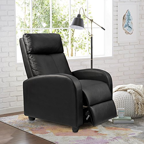 Homall Single Recliner Chair Padded Seat Black Pu Leather