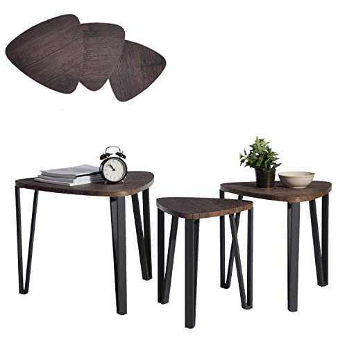 dc0d8ac2dd5b Coffee Table Set of 3 End Side Table Night Stand Table Nesting Corner Table  Stacking Telephone Tea Table Brown Modern Leisure Wood Table With Metal  Tube For ...