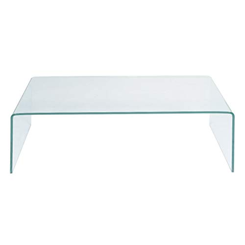 Curved Edge Glass Coffee Table: TANGKULA Glass Coffee Table Modern Home Office Furniture