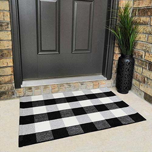 Cotton Buffalo Plaid Rugs Black And White Checkered Rug