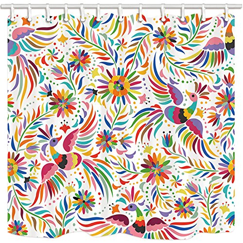 NYMB Mexican Floral Bath Curtain, Ethnic Art Birds And